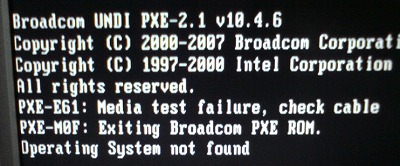 how to fix pxe e61 media test failure check cable