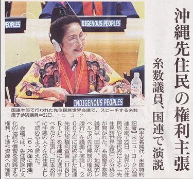 「糸数慶子 国連 先住民」の画像検索結果